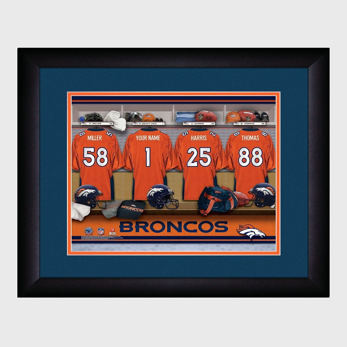 Personalized NFL Locker Room Print - Denver Broncos
