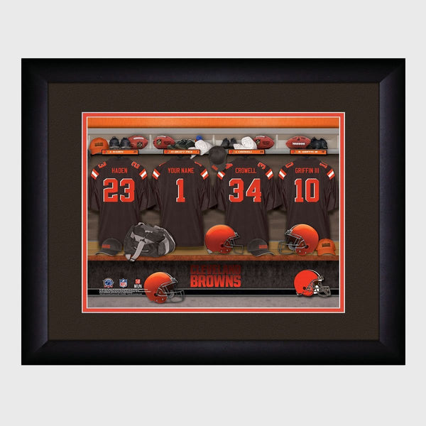 Personalized NFL Locker Sign with Matted Frame - Browns