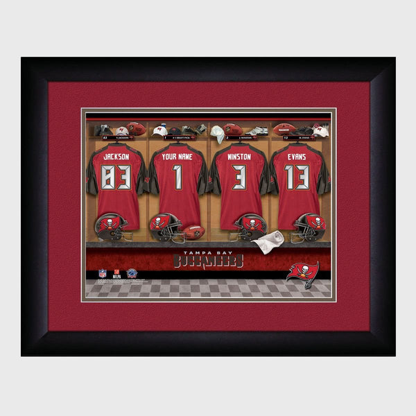 Personalized NFL Locker Sign w/Matted Frame - Buccaneers