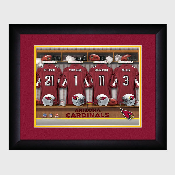 Personalized NFL Locker Sign w/Matted Frame - Cardinals