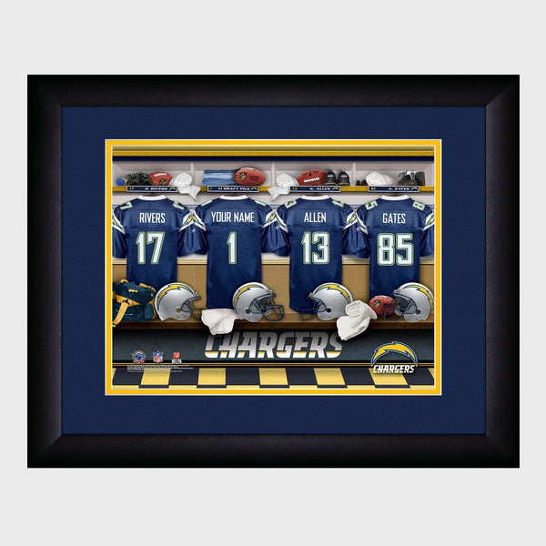Personalized NFL Locker Sign w/Matted Frame - Chargers