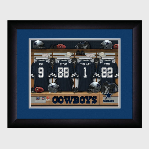 Personalized NFL Locker Sign w/Matted Frame - Cowboys