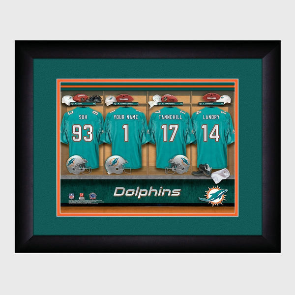Personalized NFL Locker Sign with Matted Frame - Dolphins
