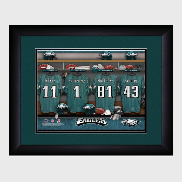 Personalized NFL Locker Sign w/Matted Frame - Eagles
