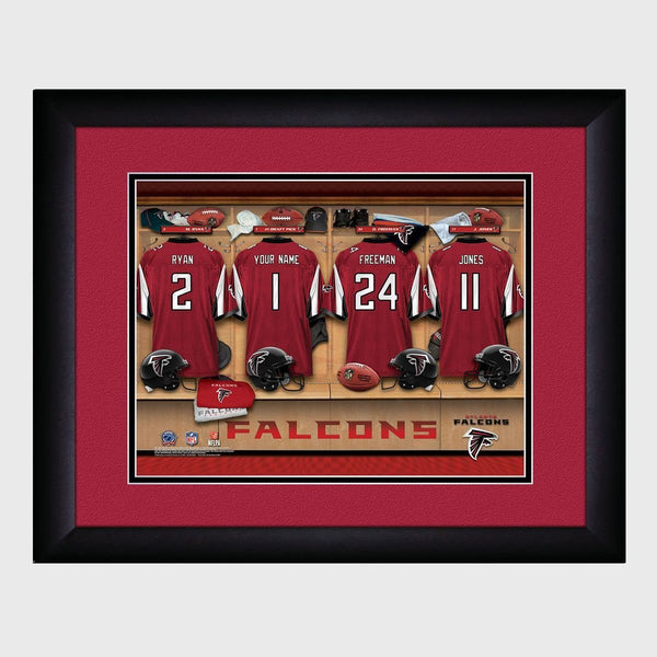 Personalized NFL Locker Sign w/Matted Frame - Falcons