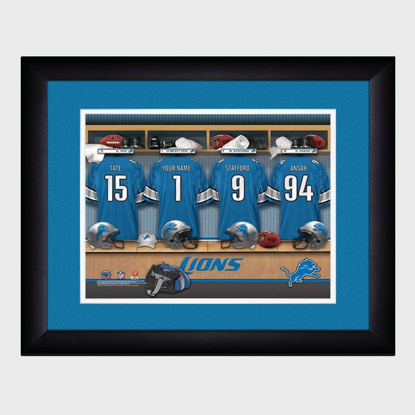 Personalized NFL Locker Sign with Matted Frame - Lions