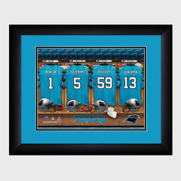 Personalized NFL Locker Room Print - Carolina Panthers