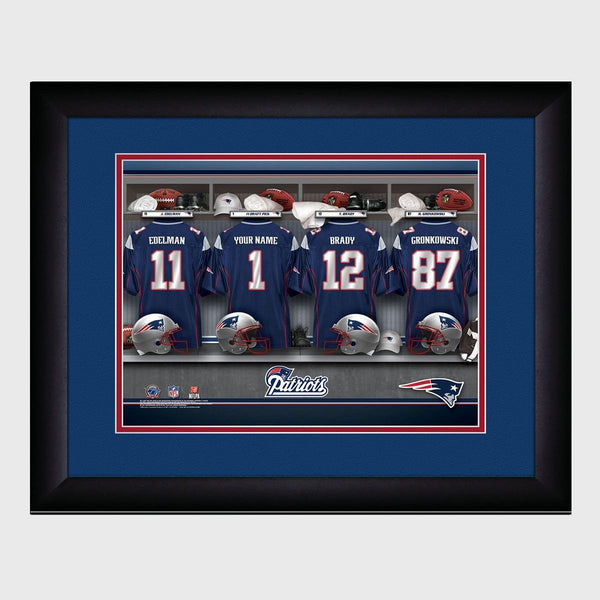 Personalized NFL Locker Sign w/Matted Frame - Patriots