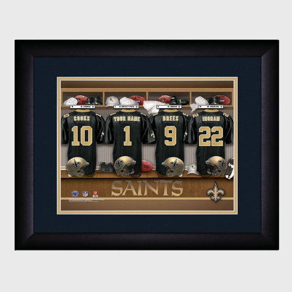 Personalized NFL Locker Sign w/Matted Frame - Saints