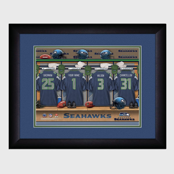 Personalized NFL Locker Room Print - Seattle Seahawks