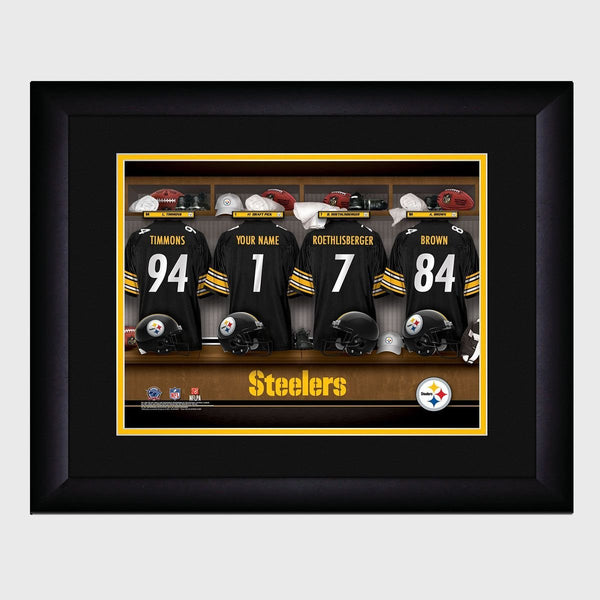 Personalized NFL Locker Sign with Matted Frame - Steelers