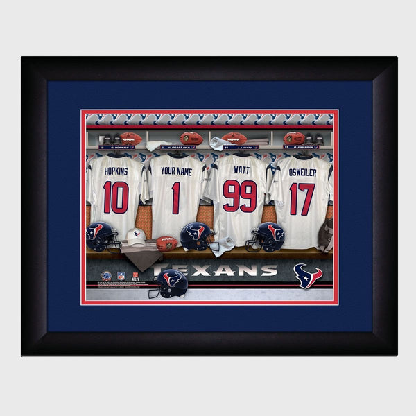 Personalized NFL Locker Sign w/Matted Frame - Texans