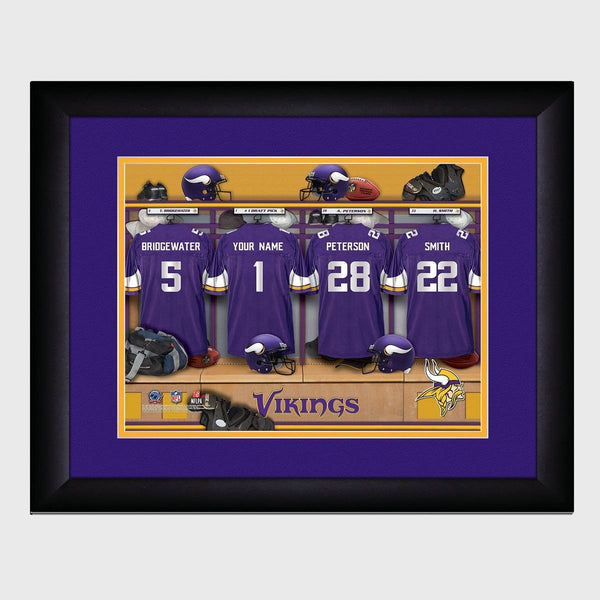 Personalized NFL Locker Sign w/Matted Frame - Vikings