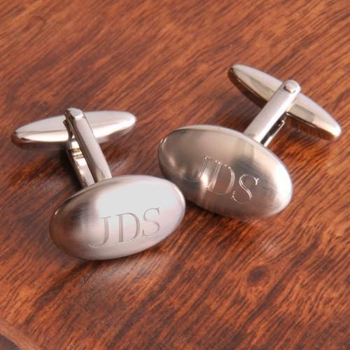 Personalized Oval Brushed Cufflinks