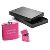 Pink 6oz Matte Flask & Lighter Gift Set
