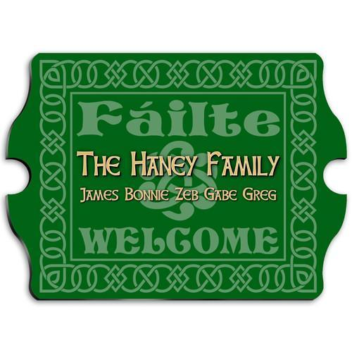 Vintage Personalized Celtic Green Family Sign