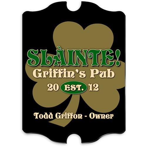 Vintage Personalized Gold Clover Pub Sign