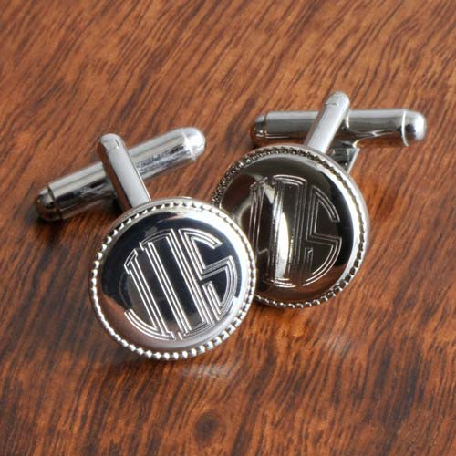 Personalized Silver Round Beaded Cufflinks