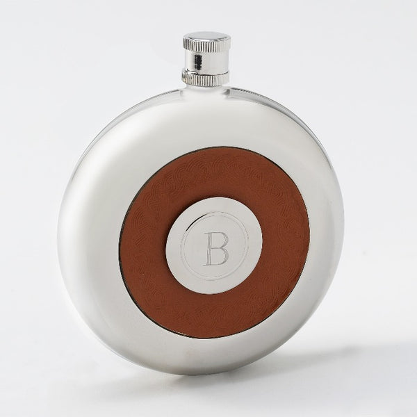 Personalized Oxford Round Leather Flask w/Shot
