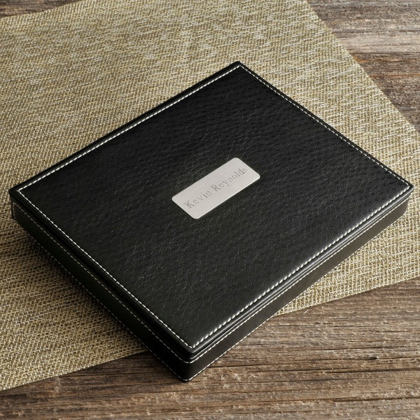 Personalized Deluxe Leather Valet