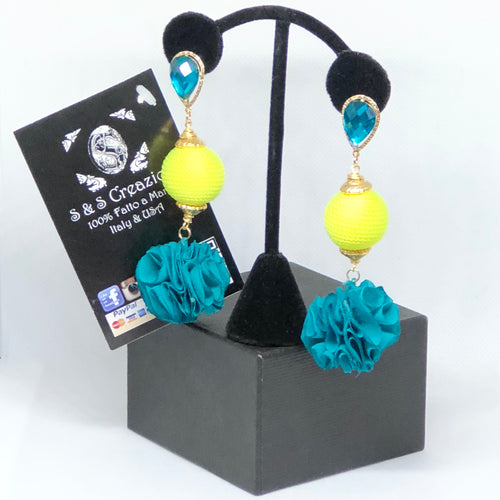 Flower Blue and Neon Artesanal Earrings