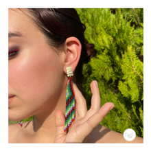 Green and Red Embera Chami Earrings