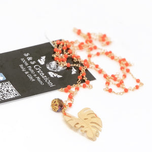 Orange Leaf Long Necklace