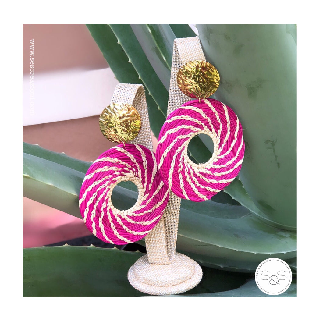 Iraca Palm Earrings Mexican Pink & Nude Medium Size