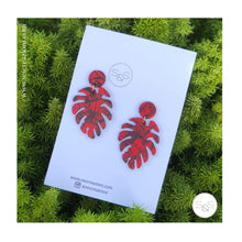 Turtle Leaf Earrings Burgundy