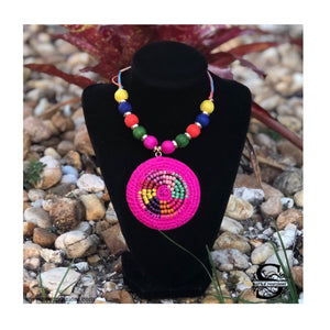 Adjustable Iraca Necklace Hot Pink