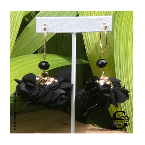 Flower Basket Black Crystal Earrings