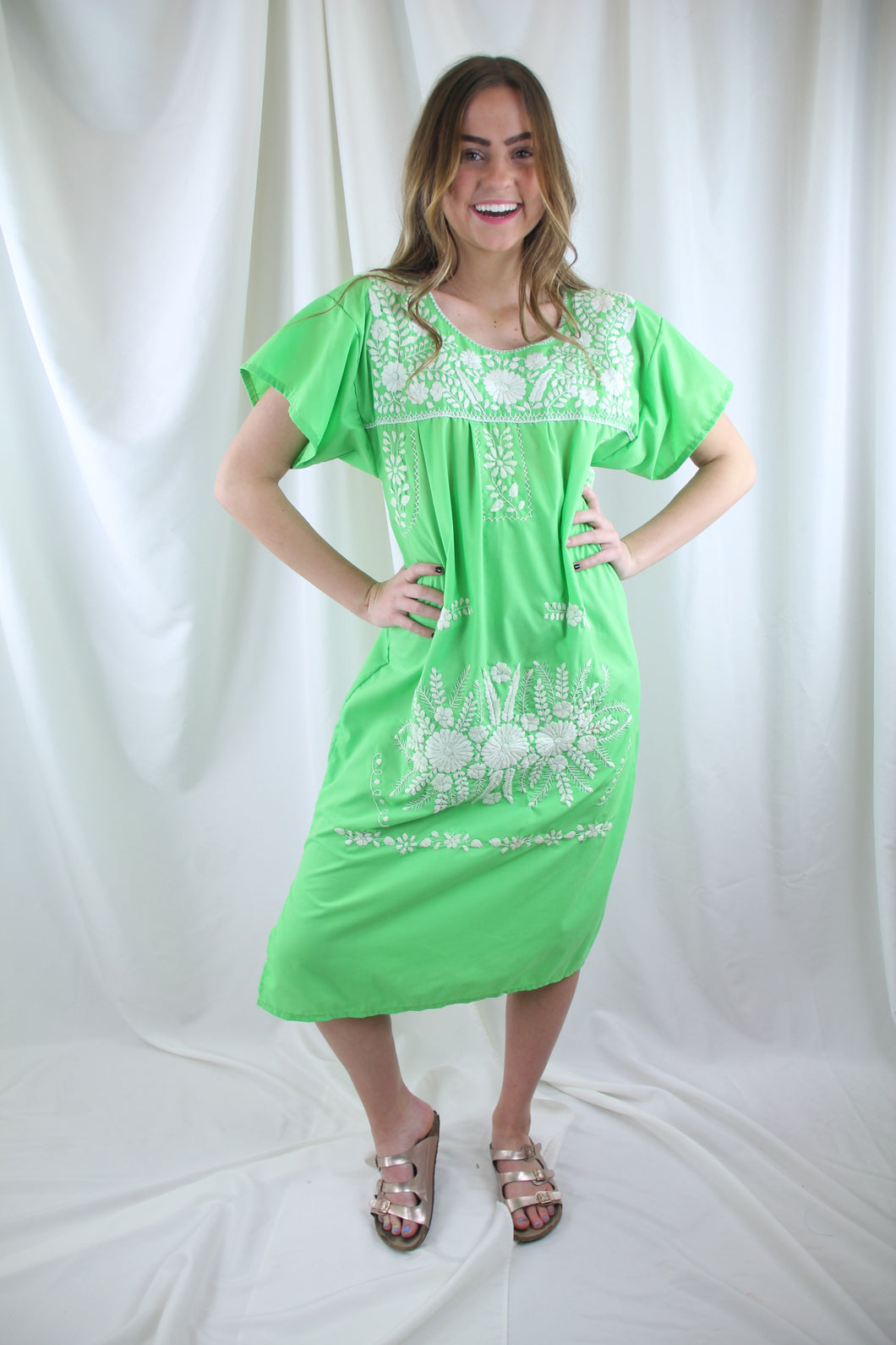Lime/White Midi Dress