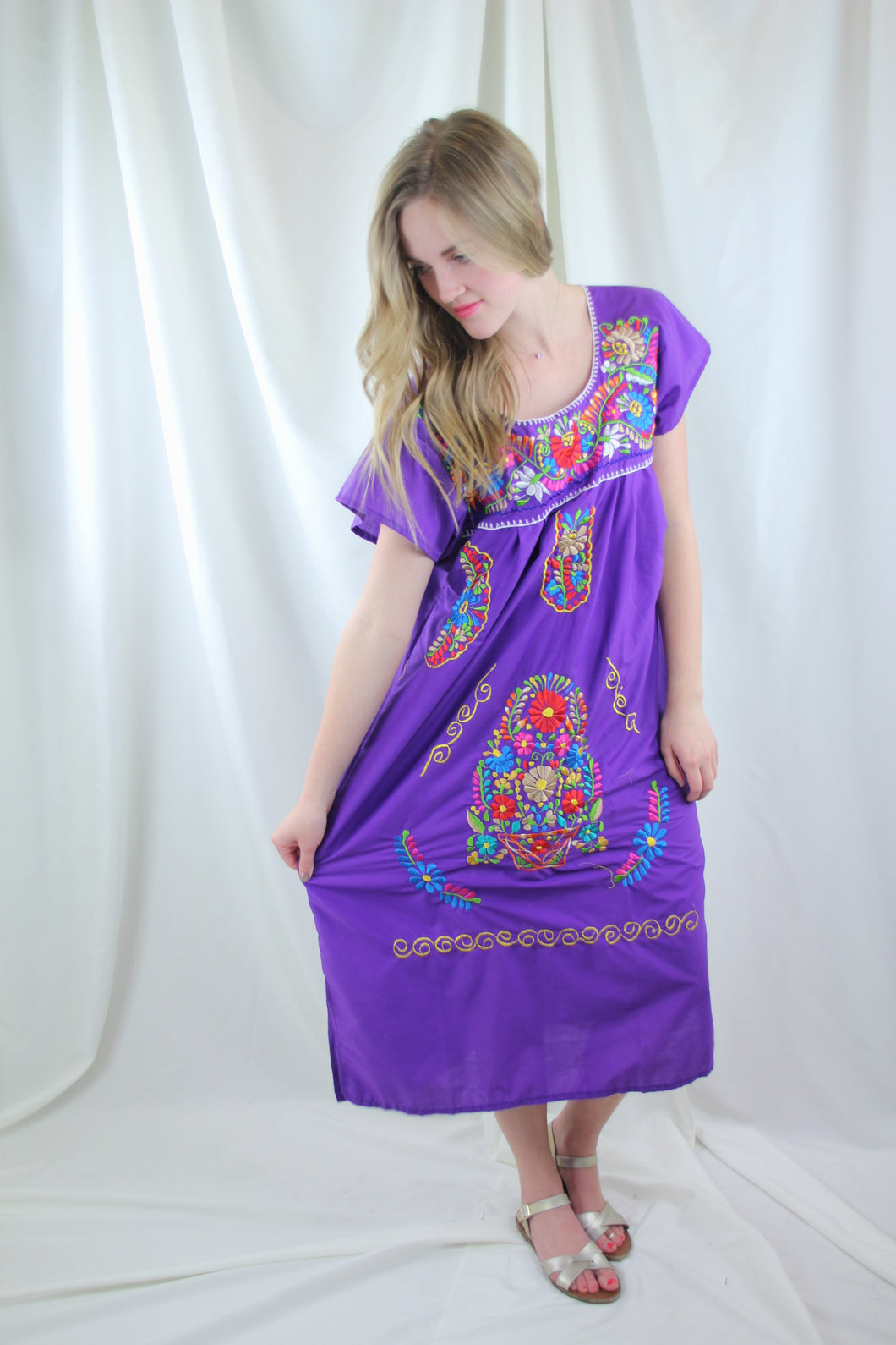 Purple/Multi Midi Dress