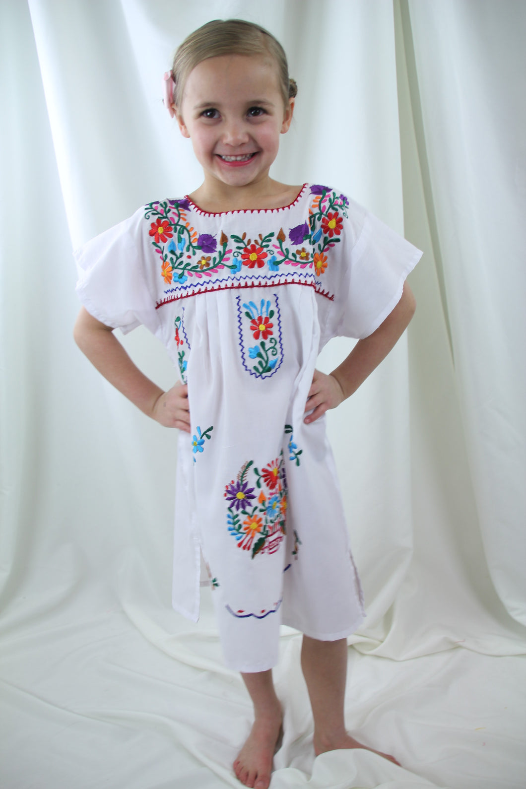 White/Multi Kids Dress