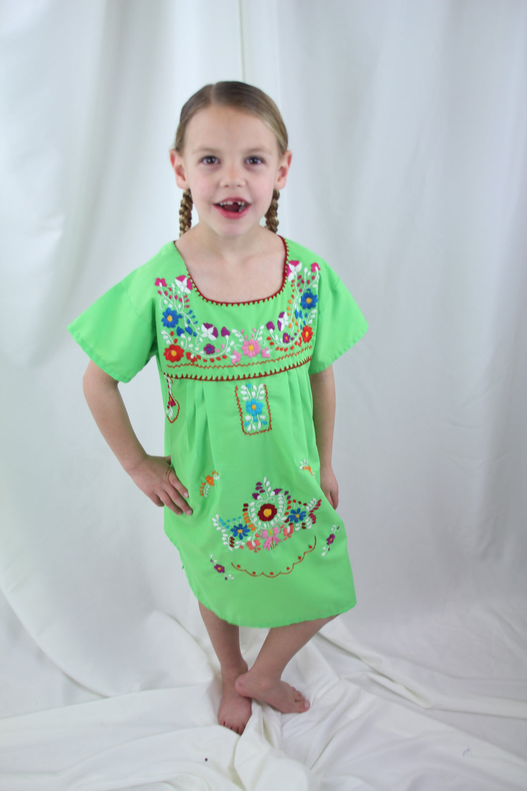 Lime/Multi Kids Dress