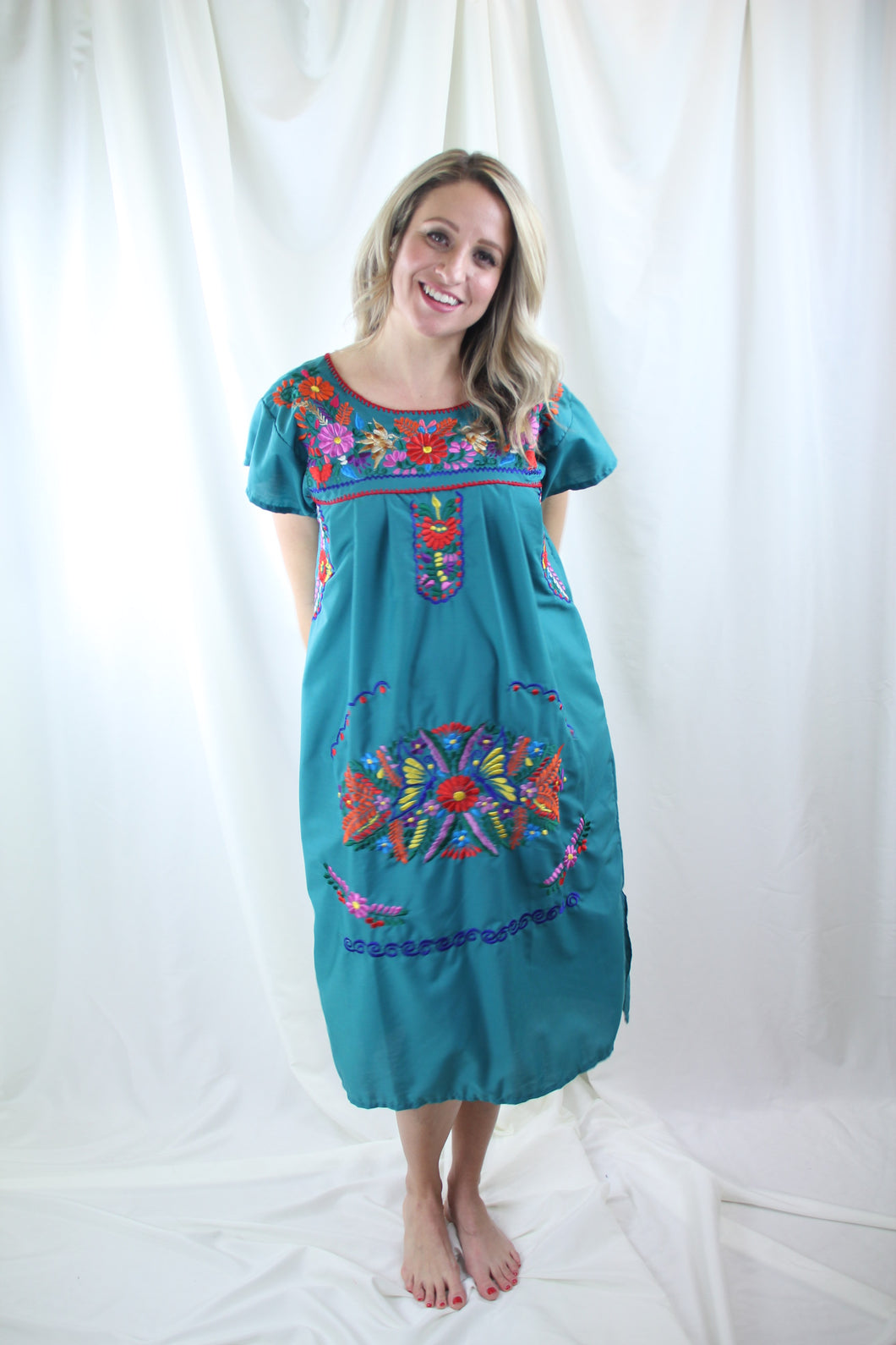 Teal/Multi Midi Dress