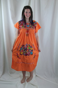 Orange/Multi Midi Dress