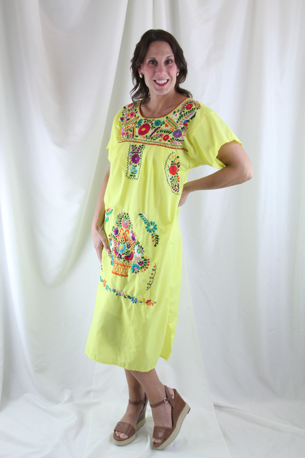Yellow/Multi Midi Dress