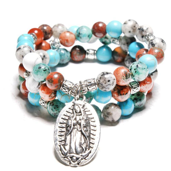 Virgin Mary Multilayer Yoga Stone Beads Bracelets