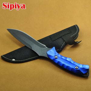 Fixed blade 440C, Blue/Black Handle Knife