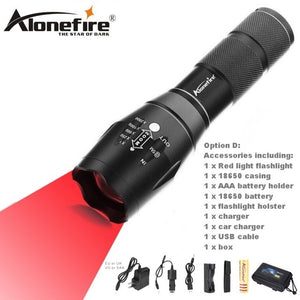 AloneFire E17 XP-E Red Spotlight LED Flashlight torch zoomable Adjustable Focus - Outdoor Outfitters Pro