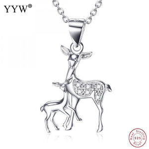 Double Deer Necklace  & Pendant 925 Sterling Silver
