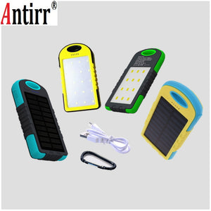 Universal 8000mah Solar Power Bank External Battery Portable Charger For Cellphones With LED light