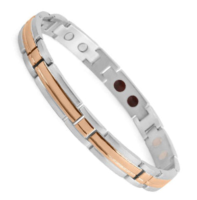 Bio Magnetic Bracelets Stainless Steel Silver and Rose Gold