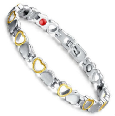 Golden Hearts Stainless Steel Magnetic Bracelet