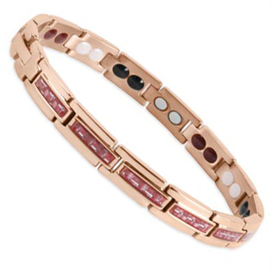 Bio Magnetic Bracelet Titanium Rose Gold and Red