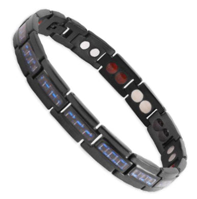 Bio Magnetic Bracelet Titanium Black and Blue