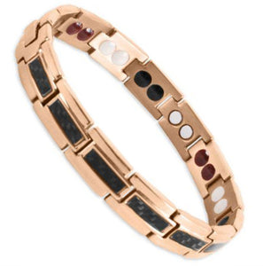 Bio Magnetic Energy Bracelet Titanium Rose Gold and Black