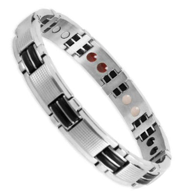 Bio Magnetic Energy Bracelet Stainless Steel Black and Silver