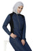 Denim Blue Contrast Baseball Neck Jilbab Abaya